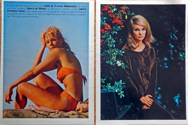 Yvette Mimieux  Two Color Photographs  original vintage 1964 Esquire magazine print art