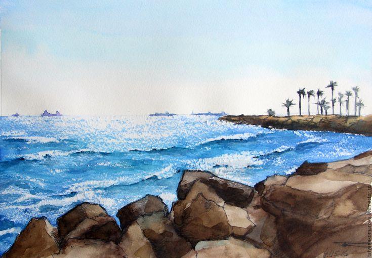"""Купить Акварельная картина """"Дальнее плавание"""" - голубой, белый, акварельный рисунок, акварель, акварельная картина"""