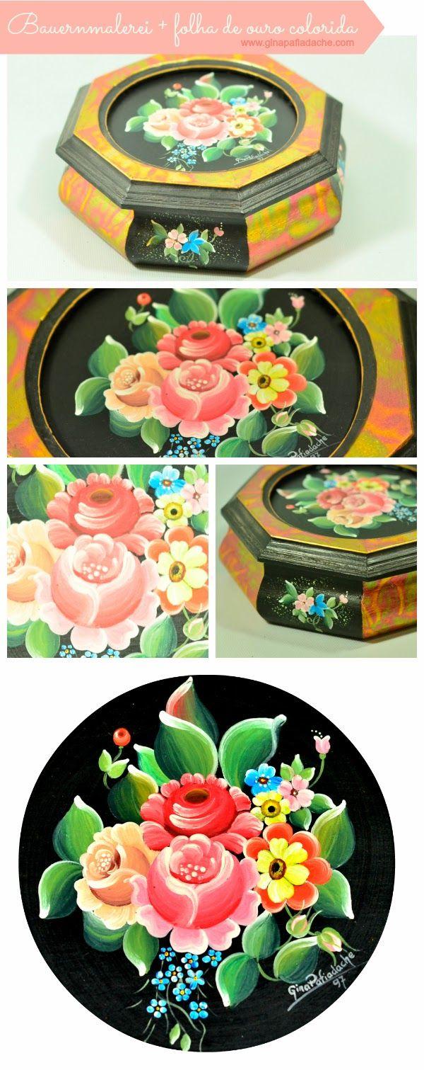 Atelier Gina Pafiadache: Caixa em Bauernmalerei e folha de ouro colorida