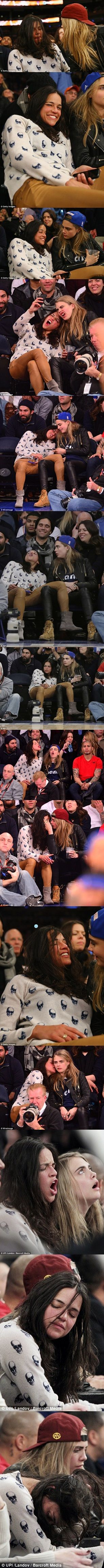 Worse for wear Michelle Rodriguez gets amorous with model Cara Delevingne as they kiss and cuddle courtside at basketball game
