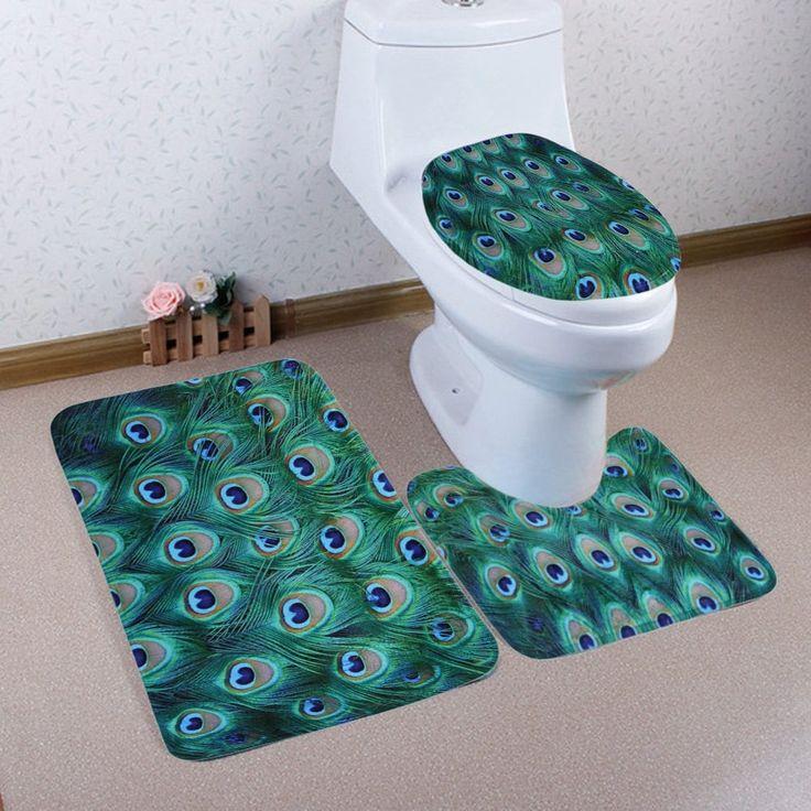 3 Pieces Peacock Feather Non Slip Bathroom Mat Set