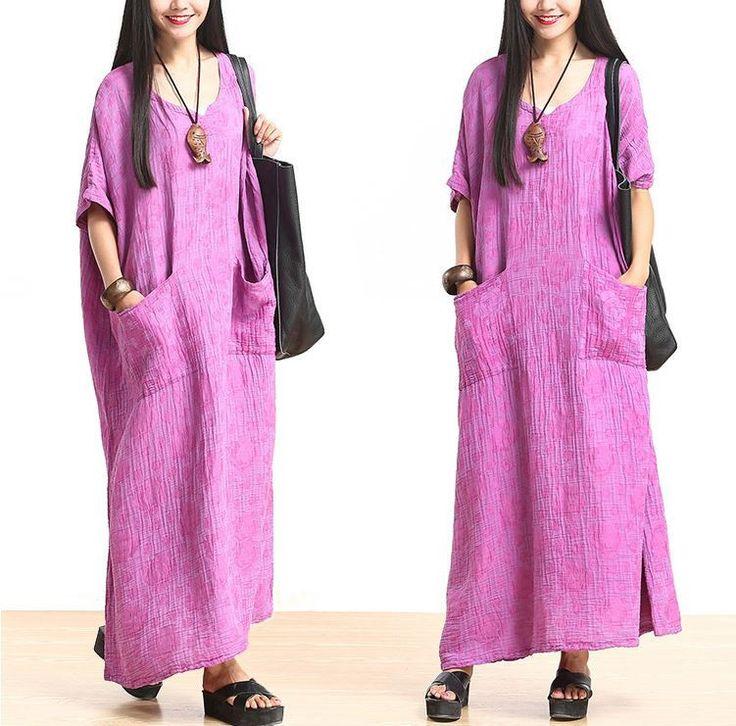Plus Size Cotton Linen Maxi Dress Loose Fitting Bat Sleeve Summer Dresses - Buykud-