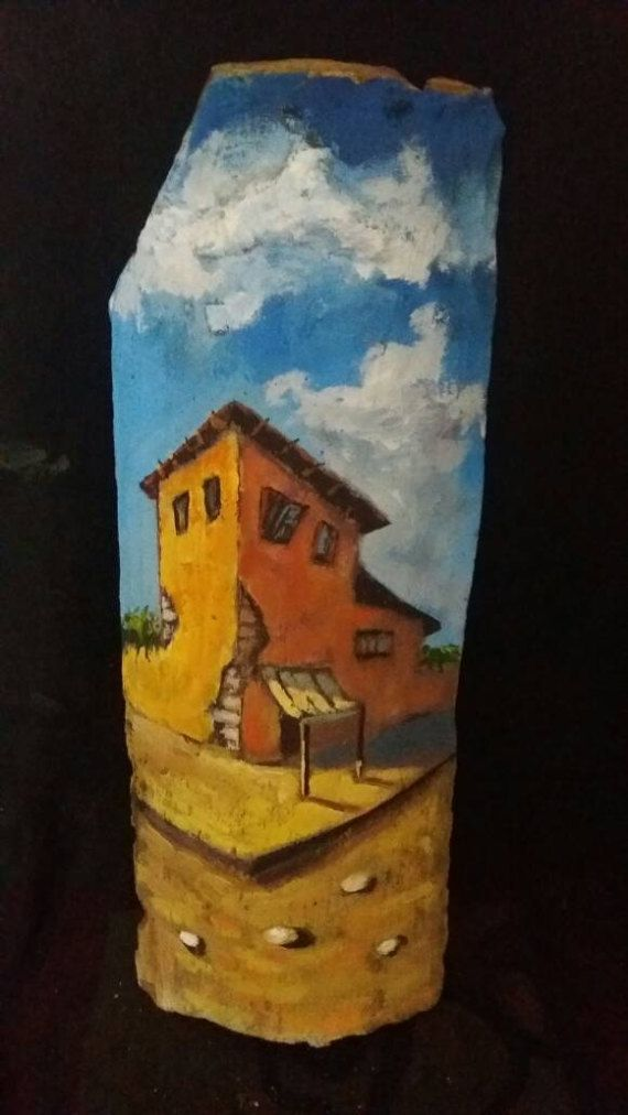 Acrylic Painting landscape on 19th century roof tile. Original painting artwork.  Five pieces of unique art.   The themes are unique and made only once.   The artwork is protected with varnish.    Dimensions  40cm height (16 in)  17cm width (6,7 in)    You can choose quantity and email us which painted tile you want to send.     The price is per piece.     All our crafts come along with authenticity guarantee.    For any questions do not hesitate to contact with our team. | Shop this product…