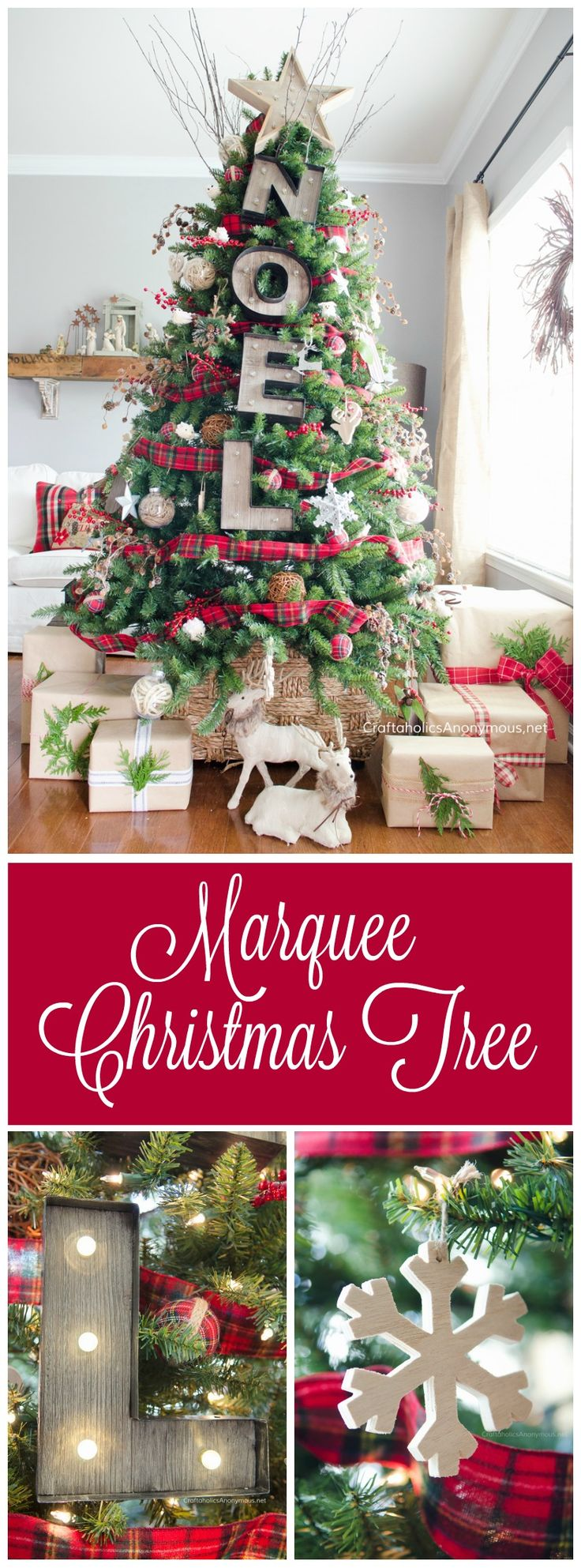 Marquee Christmas Tree DIY on www.CraftaholicsAnonymous.net. Love the idea to add marquee signs to a Christmas Tree!