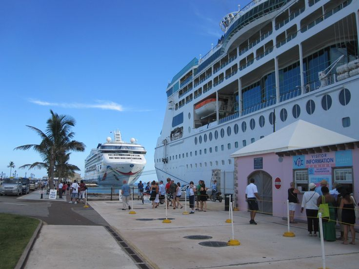 Enchantment of the Seas (front) and Norwegian Dawn (back) at King's Wharf, Bermuda