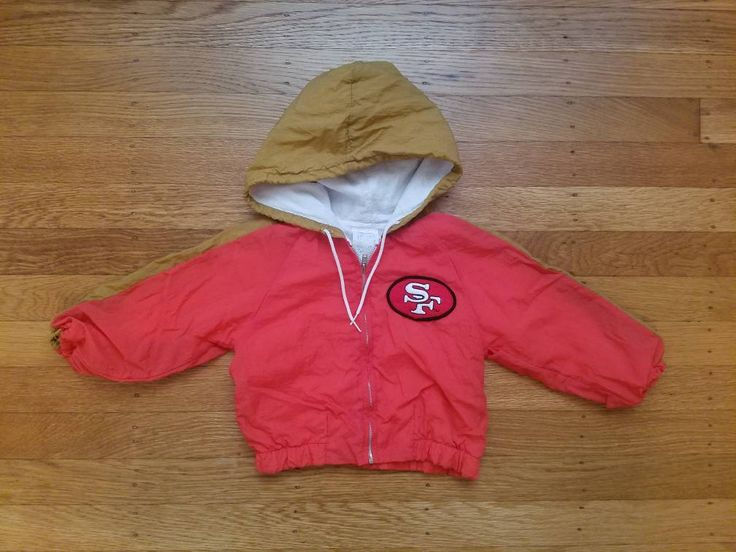 Vintage 18m San Francisco 49ers Jacket Coat Toddler Kids Baby Boys Girls Zip Up Windbreaker Jacket Coat Parka Hooded Classic Hipster Kid