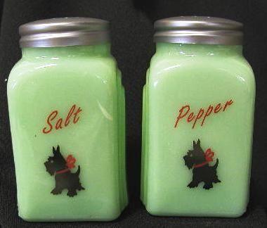 Jade Salt & Pepper Shakers w/ Scottie Dogs – ScottyGlasses Salts, Favorite Things, Salt Pepper Shakers, Peppers Shakers, Hoosier Heavens, Vintage Salts, Jade Salts, Depression Glasses, Collection Glasses