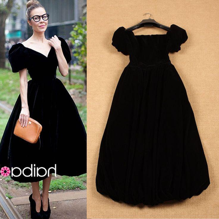 >> Click to Buy << 2015 Summer Sweet Elegant Fashion Short Puff Sleeve Pure Black & Blue Medium-long Dress #Affiliate