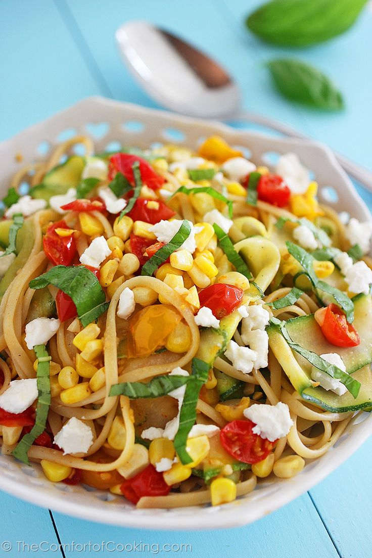 The Comfort of Cooking » Summer Vegetable Linguine with Feta