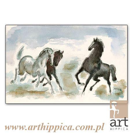 Horse - Painting - Holler Josef | IGRASZKI NA PASTWISKU |  A painting by Josef Holler. Signature: Josef Holler; Technique: watercolor; Dimensions: 20 x 10 cm; Exhibitions: Czech Parliament, Millennium gallery – Prague.
