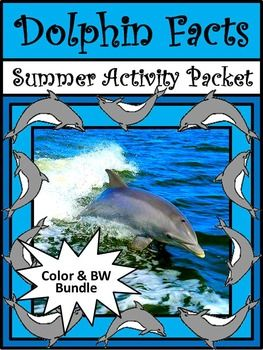 Ocean Animal Activities:  Dolphin Facts Summer Reading & Science Activities Packet Bundle provides many reading selections and activities detailing one of the world's favorite mammals, the dolphin!  Learn all about dolphin anatomy, dolphin types, dolphin intelligence, dolphin lengths, and even dolphin hybrids.