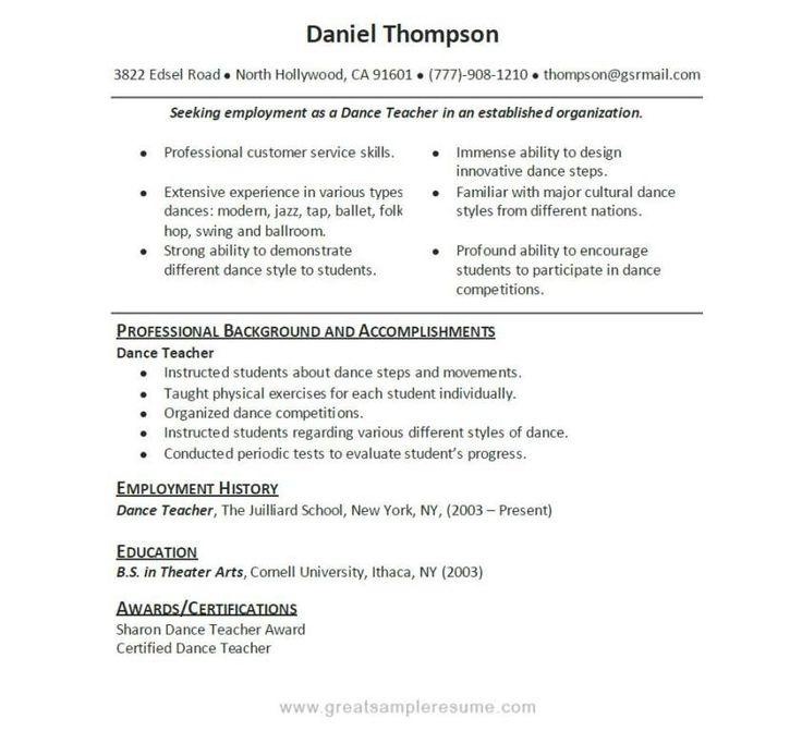 good teacher resume sample