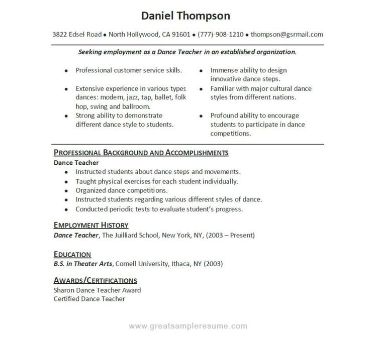 Good Teacher Resume Sample | Sample Resumes