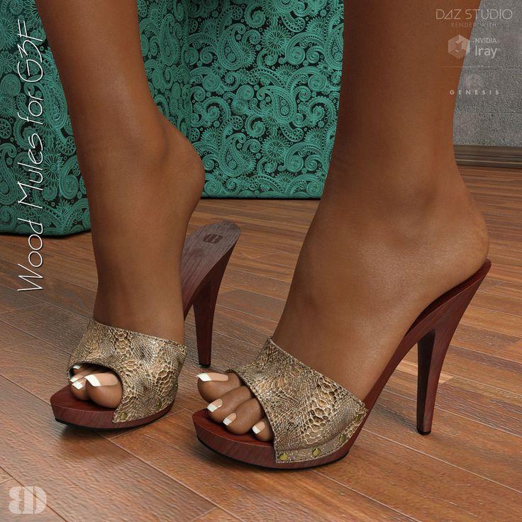 Wood Mules for G3F 3d figure assets footwear