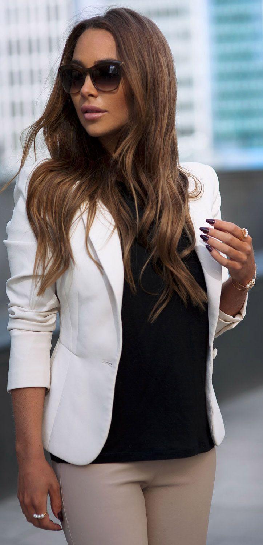 White blazer, black tee and cream pants