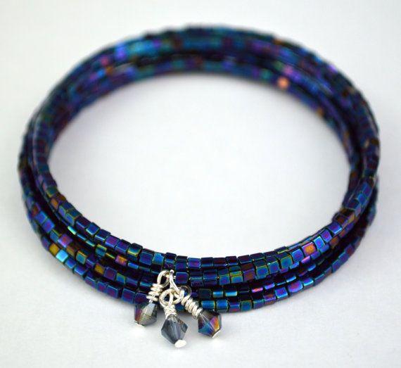 Ice Cube  Blue Multitone Beaded Bracelet w/ by DizzleDesigns