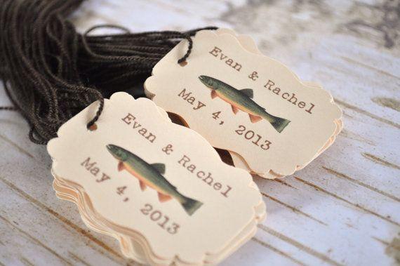 Fish Wedding Favor Tags Fall Wedding Tags 50 by alittlemorerosie, $32.00