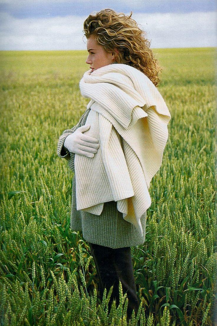 """Elle Vibre Au Grand Air"", Elle France, September 1992Photographer: Oliviero Toscani Model: Rebecca Romijn"