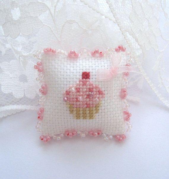 dollhouse cupcake cushion cross stitched glass beaded fringe lakeland artist