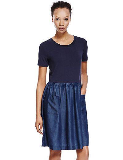http://www.marksandspencer.com/tencel-front-pockets-drop-waist-dress-with-staynew/p/p22373257
