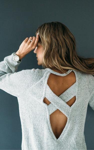 Grey Cross Pocket Back Sweater