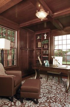 traditional office design. Traditional Home Office Design, Patterned Rug, Sophisticated Accessories, Natural Lighting, Dark Design P