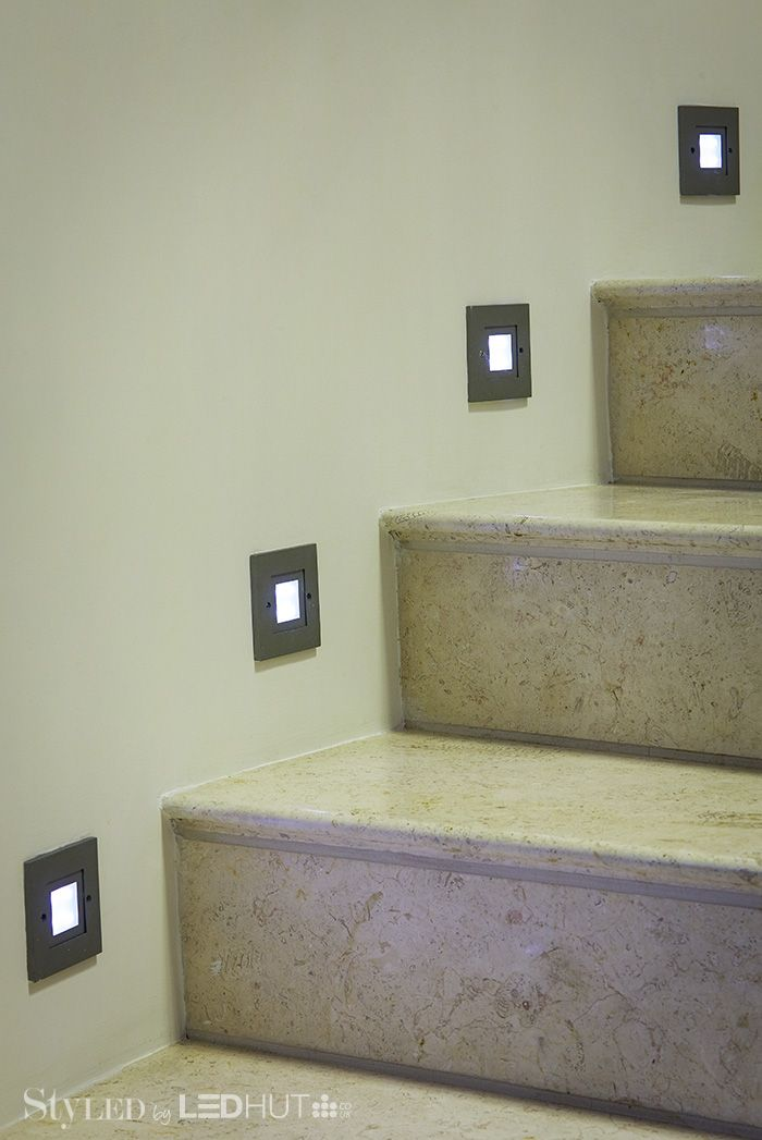 LED spotlights give a touch of sophistication and safety to your staircase. Why not light up your banisters too? #StyLEDlighting