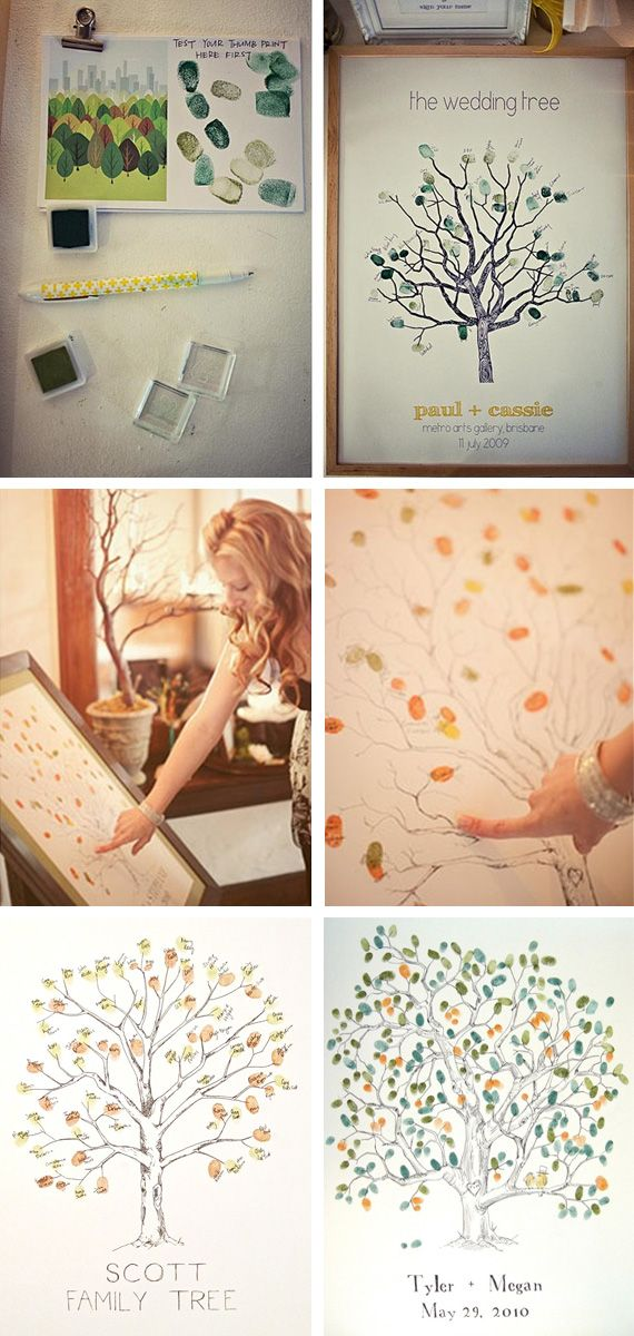 "Too late for our wedding guest book... but what if we had the tree print in our house and everyone who ever came to visit added a ""leaf""... hmmm, I'm liking this line of thinking"