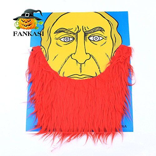Chen Han Funny Fake False Simulation Red ladder Shaped Beard Mustache Halloween Masquerade Props $3.03 Material: Polyester. Color: red 100% brand new and high quality perfect for masquerade parties, gifts, costume party, halloween etc. Suits for unisex funny, cool and fashion