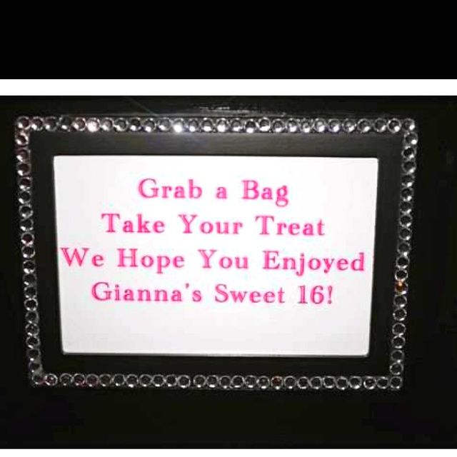 sweet sixteen sign on board | Sign by the party favors | Party Planning; Gianna's Sweet 16
