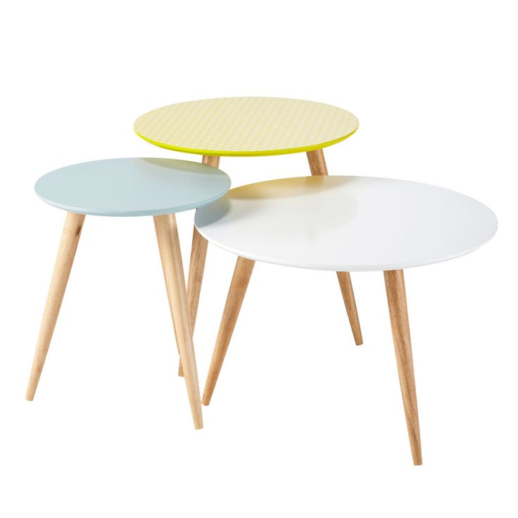 Nest of 3 wooden vintage coffee tables, multicoloured W 40cm - W 60cm