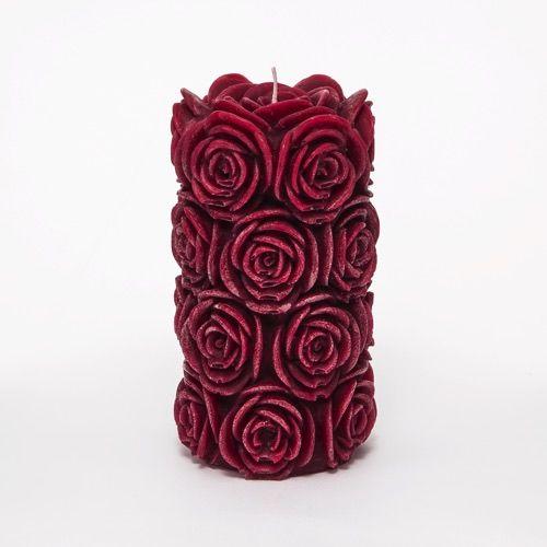 Burgundy Red Rose Pillar Candle