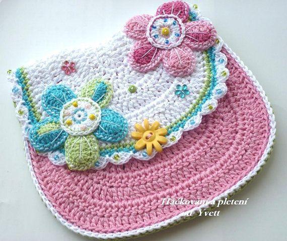 PATTERN - flower handbag - crochet pattern, purse, bag, PDF