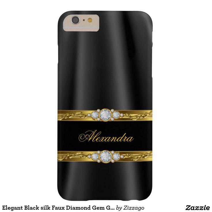 Elegant Black silk Faux Diamond Gem Gold Barely There iPhone 6 Plus Case