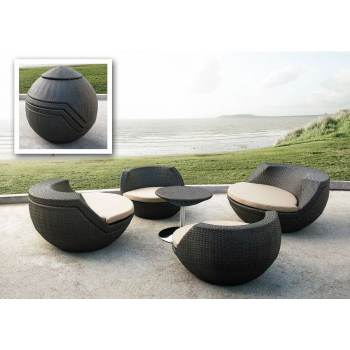 5 Piece wicker patio set. Features rounded modern seat design, fabric  padded seat cushion, and a round wicker table with a sturdy stainless steel  b… - 5 Piece Wicker Patio Set. Features Rounded Modern Seat Design
