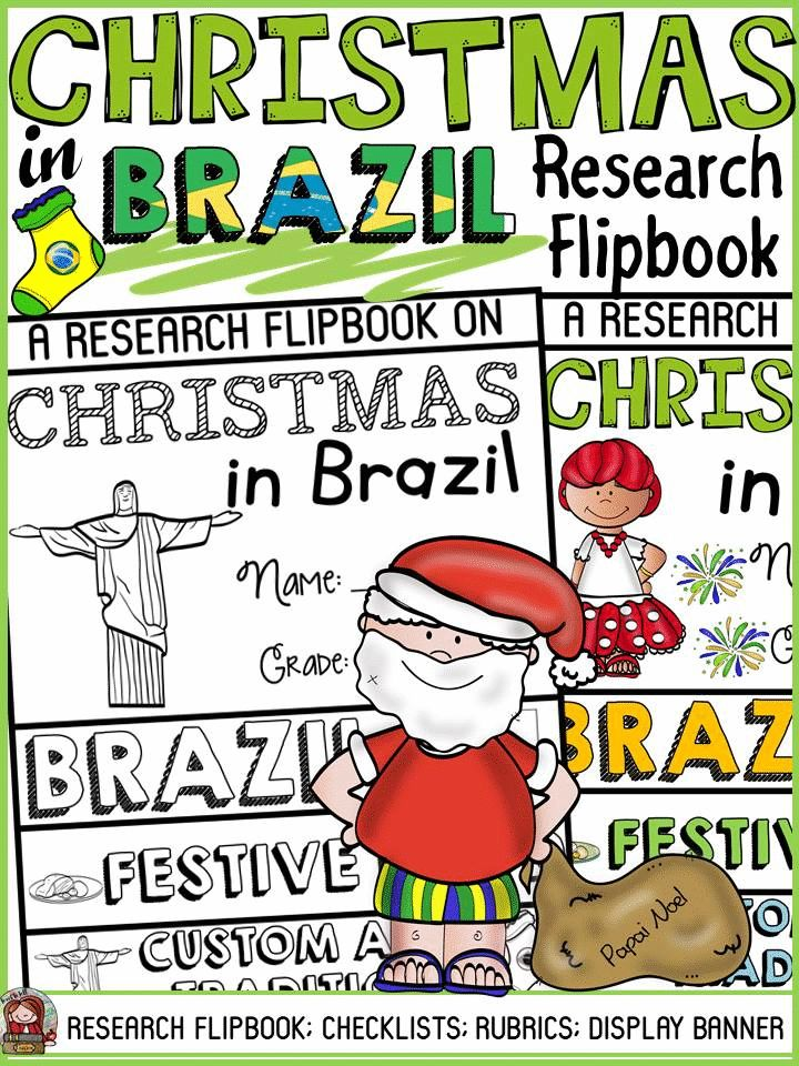 Have your students practice research writing skills by collating and recording information in this flipbook on Christmas in Brazil. The titles, pictures and writing prompts for each section of the flipbook scaffold writing and research. https://www.teacherspayteachers.com/Product/CHRISTMAS-IN-BRAZIL-INFORMATIONAL-REPORT-WRITING-RESEARCH-FLIPBOOK-3522432