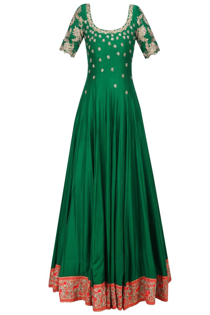 Green floral embroidered anarkali with gold dupatta available only at Pernia's Pop Up Shop.
