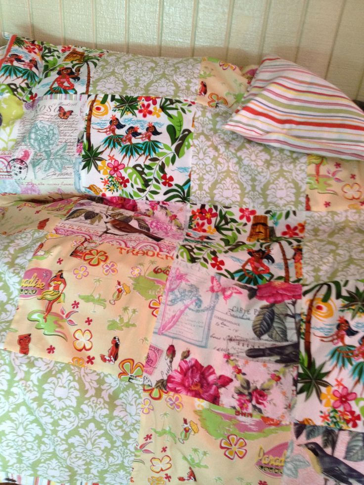 CUSTOM Hawaiian TWIN size duvet cover with coconut buttons by tikitales