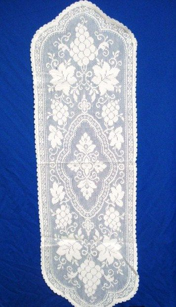 Precious Vintage Table Dresser or Buffet Filet Lace by VerasLinens