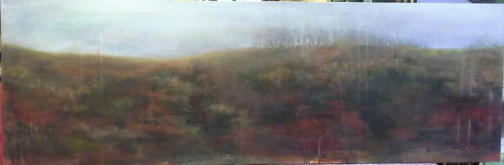 """Burning land "" 33 x 100cm oil on canvas"