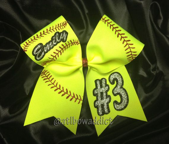 Softball Bow Customized with your team name and by AtlBowAddict