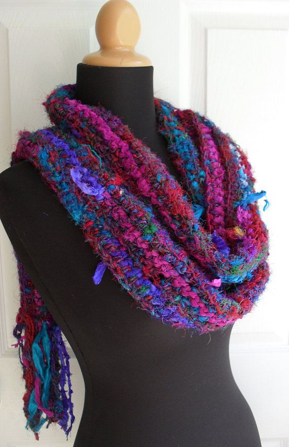Jeweled Sari Gypsy Scarf in Recycled Sari Silk Yarn and Recycled Sari Ribbon