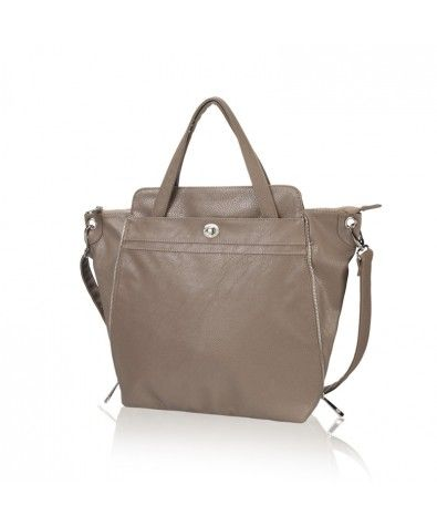 Cypress Taupe. 100% vegan material with dust bag with carrying handles. Expandable sides allow you to choose its shape - diamond corners or a sleek rectangle. TWO outside pockets offer plenty of storage including a zippered pocket and one clasp pocket. The carrying handles can tuck away and the included cross-body strap converts this satchel into a hands-free satchel.