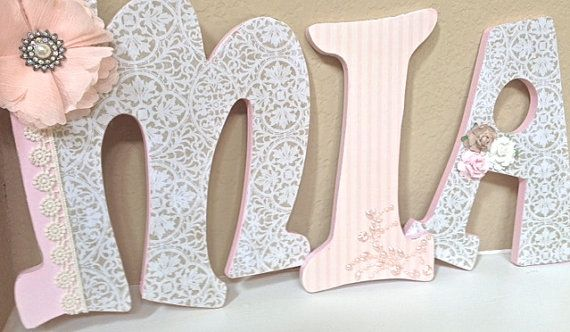 Custom nursery letters baby name hanging wooden wall for Baby room decoration letters