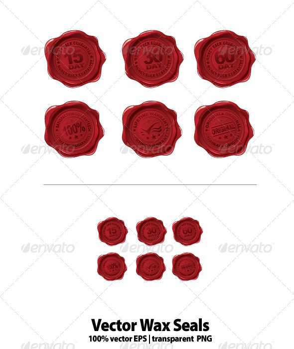 Vector Wax Seals  #GraphicRiver         Vector wax seal set ideal for websites and any type of applications. It includes: lifetime warranty,100% satisfaction guaranteed, original seal and 15,30 and 60 day money back guarantee. File includes EPS , PNG, and JPEG files. All text is outlined or converted to curves     Created: 8June11 GraphicsFilesIncluded: TransparentPNG #JPGImage #VectorEPS Layered: No MinimumAdobeCSVersion: CS3 Tags: 30daymoneybackguarantee #iconseat #lifetime #satisfaction…