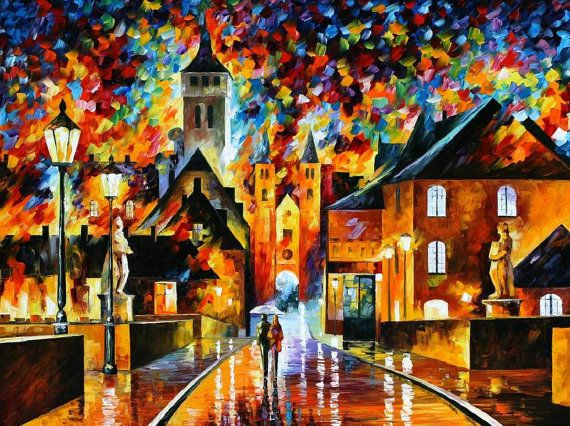 Night In The Old City — PALETTE KNIFE Oil Painting by Leonid Afremov on AfremovArtGallery, $339.00