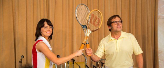 Battle of the Sexes is a 2017 American biographical sports film directed by Jonathan Dayton and Valerie Faris and written by Simon Beaufoy.    The plot is loosely based on the 1973 tennis match between Billie Jean King and Bobby Riggs.    The film stars Emma Stone and Steve Carell as King and Riggs, with Andrea Riseborough, Elisabeth Shue, Austin Stowell, and Sarah Silverman in supporting roles.