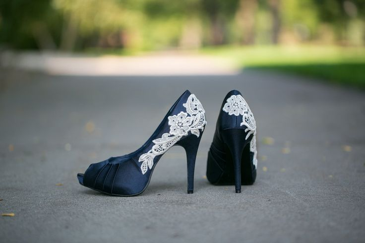 Wedding Shoes - Navy Blue Wedding Heels with Ivory Lace. US Size 8. $89.00, via Etsy.