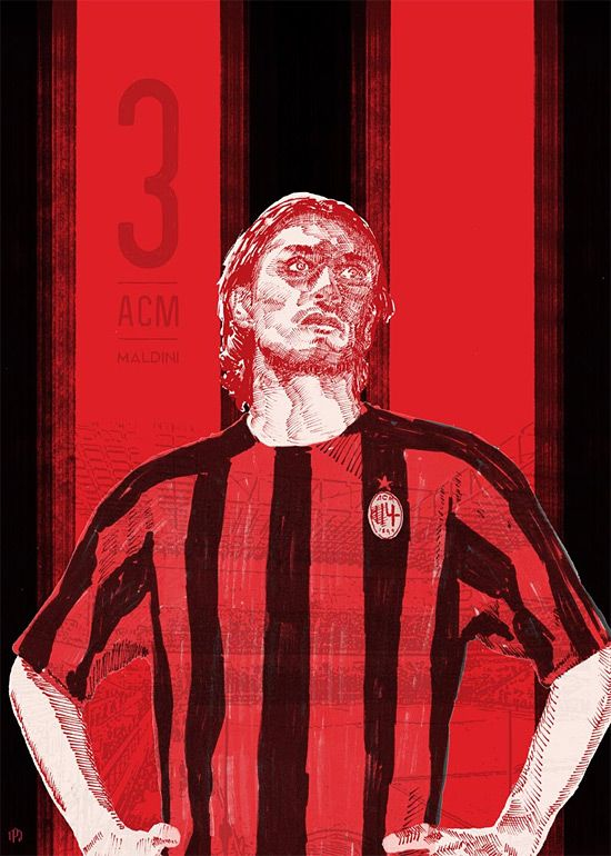#3 Maldini - 11 Series: Soccer Illustrations by Ty Palmer