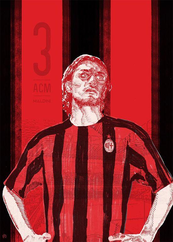 #3 Maldini - 11 Series: Soccer Illustrations by Ty Palmer